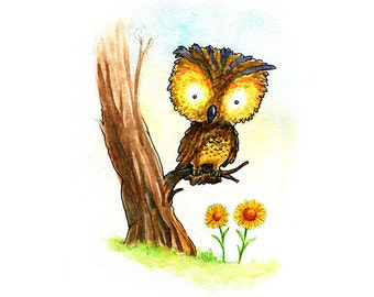 Little Yellow Owl and Sunflowers Watercolor Print