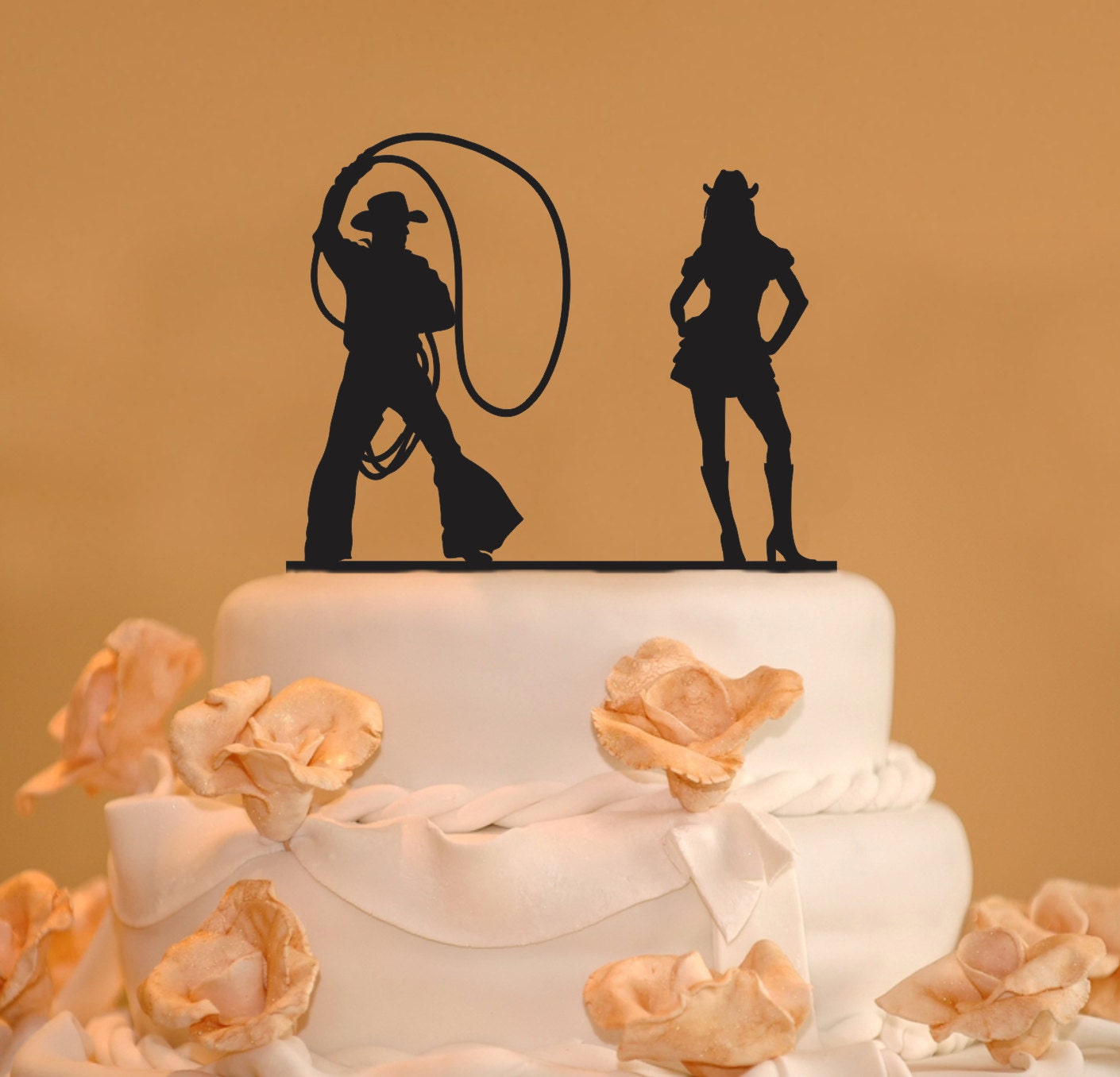 Cowboy Cowgirl Wedding Ideas: Silhouette Wedding Cake Topper Cowboy Cowgirl Wedding Cake