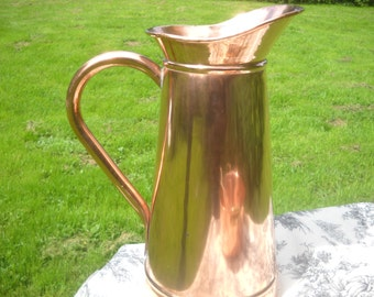 BIG Vintage French Solid Copper Jug Umbrella Stick Stand 'Arts and Crafts' Totally Hand Made Fabulous Copper Jug French Copper Pitcher