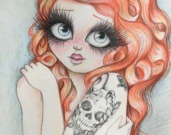 Red, Broken Dolls, original drawing with colored pencils, painting, dolls...