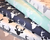 Buck Forest Fabric 1/2 Yard Bundle from Hello Bear - Art Gallery - Bonnie Christine. Deer Antlers print. 100% premium cotton. 5 HALF YARDS