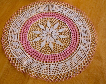 Vintage Doily Crocheted Round Ecru with Pink Trim Cottage Farmhouse Decor