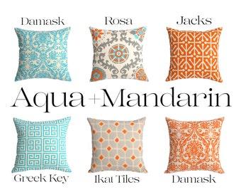 One Orange and Aqua Pillow Cover 18x18 Inch Orange Decorative Throw Zipper 20x20 22x22 24x24 26x26 Teal 28x28 Linen Pillow Cover 14x36-HU1Z