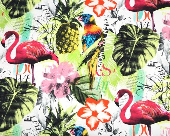 One Yard Braemore Pineapple Flamingo Art Collage Fuchsia Tropical Home Decor Fabric High Fashion Jamil Upholstery Banana Leaf Fabric Dgkf From Pillomatic On