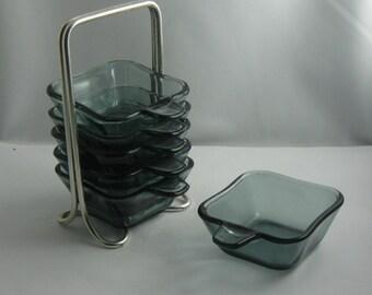 WMF stack ashtray SET tourmaline. Design: Wilhelm Wagenfeld, 50s. Design classic. VINTAGE