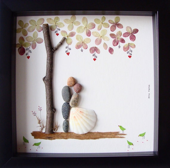 Special Wedding Gifts: Unique Wedding Gift For Couple Wedding Pebble Art Unique
