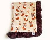Fox Baby Blanket - Beige, Brown and Rust - Fox Blanket - Woodland Fox Luxury Baby Blanket
