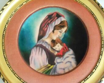 Jean Paul Loup Limoges Betourne Enamel on Copper Mothers Day Plate 1976