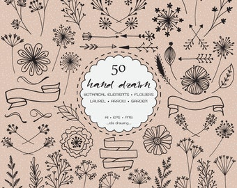 50 Hand Drawn Botanical Elements Digital Clip Art - Wedding Flower - Floral Clip Art - Arrow - Botanical - Rustic Flower - Invitation Card