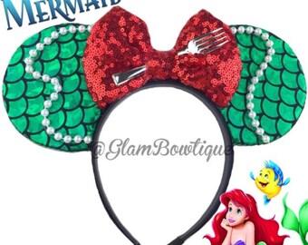 Adult Size Minnie ears, mouse ears, hair clip, mickey ears, Minnie Mouse ears, hair clip, Ariel Ears, The mermaid mouse ears