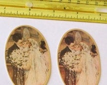 2 beautiful pretty New American made Gibson girl Victorian style bride groom wedding paper die cut ovals scraps scrapbooking favors