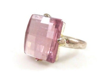 Faceted Light Pink Resin Square Ring - Size 6.5