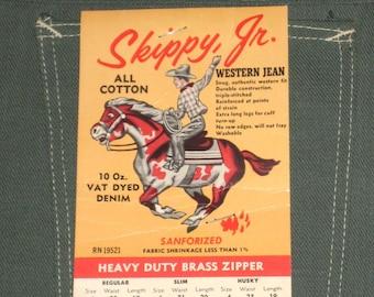 NWT Vintage 60s SKIPPY JR. Sanforized Western Jeans Pants. Never Worn. 28X29