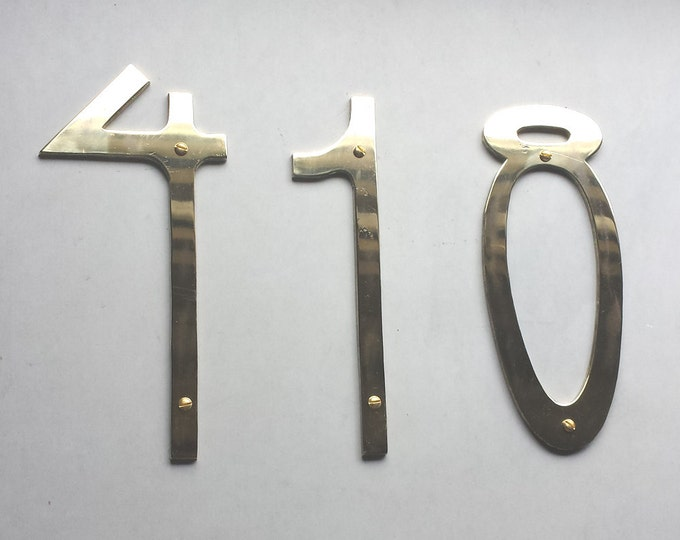 "Pewter Art Nouveau 6""/150mm high metal house numbers 3 x nos. in polished or hammered finish o"