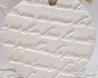 French Script Tree Ornaments, 3 White Clay Decorations, Christmas Tree Decorations, Gift for Women, Secret Santa Gift Idea, Stocking Filler