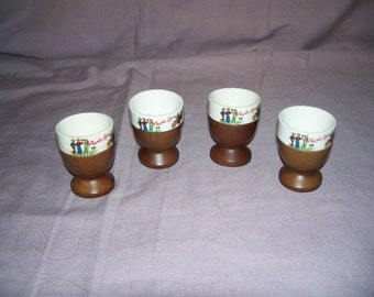 """Set of four VIntage """"Puerto Rico"""" Souviner wood and ceramic insert Eggcups, Made in Japan"""