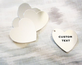 """Custom Silver Heart - 31mm (1-1/4"""") - Hand Stamped Heart Jewelry Tag - BULK PRICING AVAILABLE"""