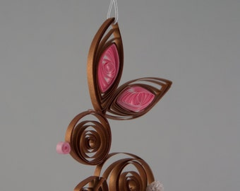 Quilled Christmas Paper Art Ornament Baxter the Bunny Rabbit
