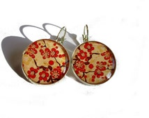 Cherry Blossom Earrings, Dangle Earrings, Sakura Earrings, Sakura Jewelry, Japanese Flowers, Flower Earrings, Red Flower, Statement Earrings