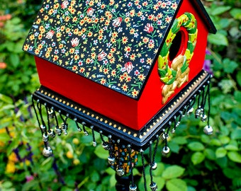 Hand Painted Red and Black Floral Birdhouse, Handpainted Tulip Bird House