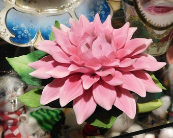 Figurine Andrea by Sadek Flower Porcelain  Chrysanthemum Mum Pink Bisque Porcelain Vintage Floral Home Decor Large Flower Decoration Cabinet