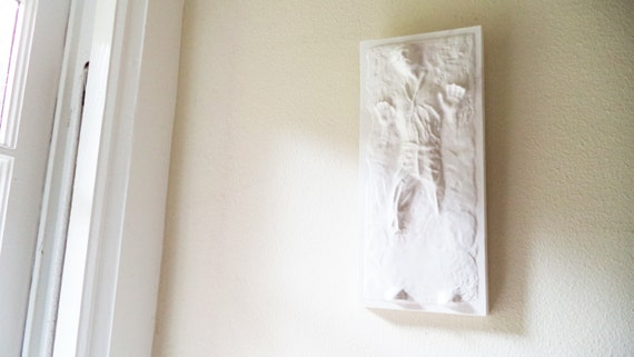 Han Solo in carbonite wall hanging sculpture, carbonite chamber plaque, star wars gift