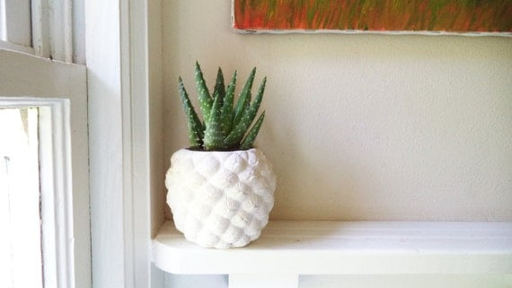 Pineapple planter, Pineapple home accent, pineapple shaped pot, Succulent planter, tropical decor, candle holder