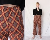 PLAID BELL BOTTOMS 70s High Wasted Brown Orange Tartan Knitted Pants Flared Boot Cut 1970s Retro Hipster 26 Small S