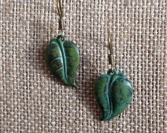turquoise patina brass dangle earring - Leaf