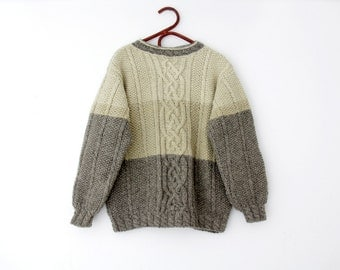 Vintage Sweater // Handknit Wool Fisherman Sweater // Gray Beige Ivory Handmade Jumper