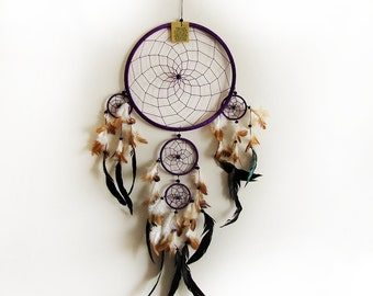 Free Fast Shipping/Purple Dream Catcher/Five Circles-One Oversize and Four Little Circle/Indian Symbols -4 size Optional