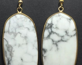 "Designer Inspired Gold Tone Drop Earrings With Genuine Stone 2.5"" White Turquoise/Howlite"