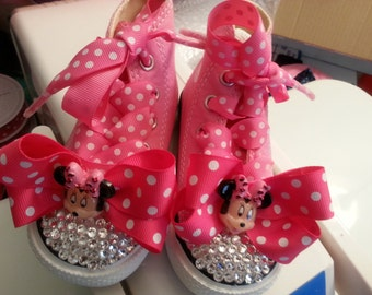 Blinged Out Minnie Sneakers with Detachable Clip Bow