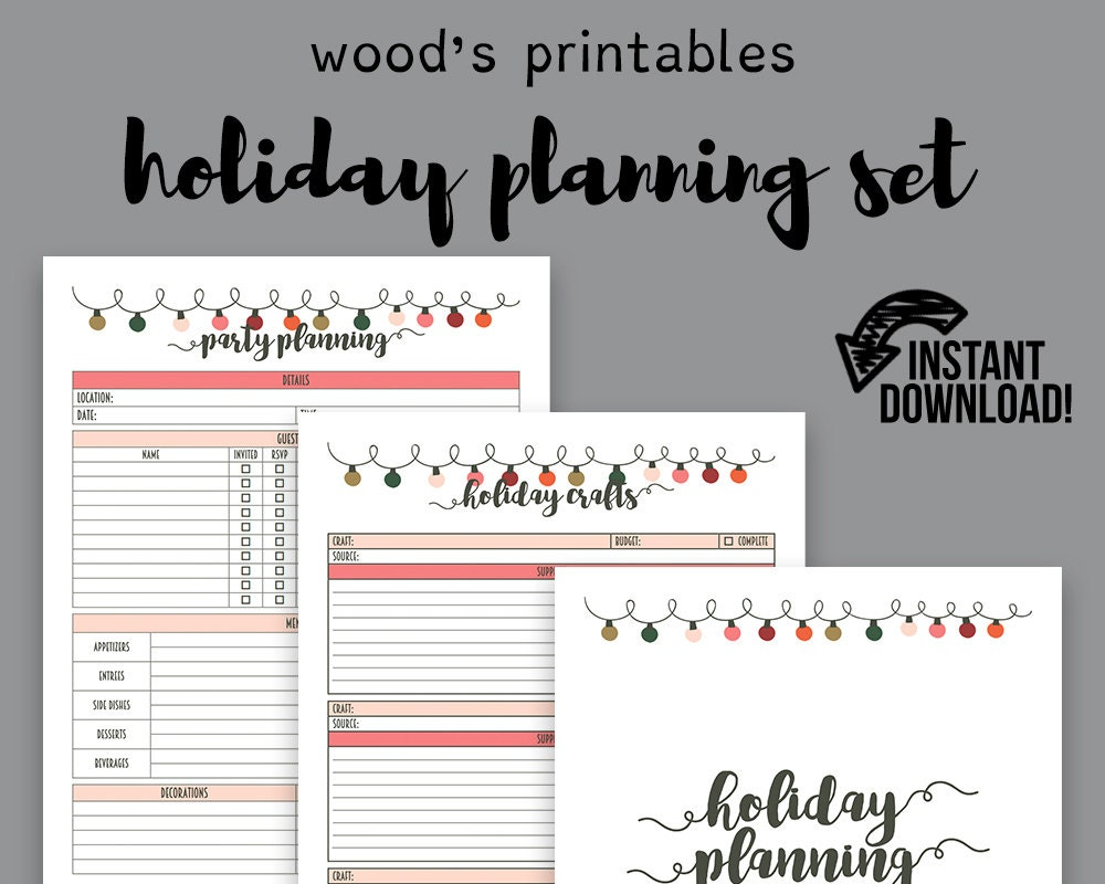 Holiday Planner PDF Christmas Planner Holiday Organizer