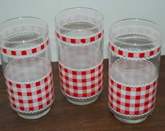 Vintage '70's  Water Glasses, Set of 3, Red Check Gingham, Shabby Chic
