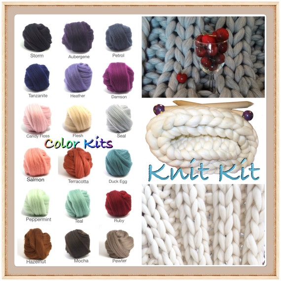 KNIT KIT, New Large Blanket Kit! COLOR Choice!  Chunky Blanket, Needles,8.6# Chunky Yarn, Tutorial, Patterns,