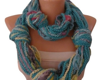 ON SALE Infinity Chain Necklace Loop Scarf, Circle Neck warmer, Green Blue Pink, Hand Crochet necklace scarf circle,Winter Accessory