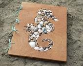 Wedding guest book-Seahorse book-Nautical book-Travel album-Seashell decor-Kids photo album-Personalized Book-Wedding gift-Beach house decor