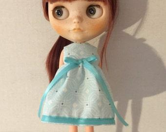 Blythe dress blue, white and gray