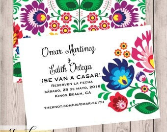 mexican wedding invitations. floral, folk, fiesta, wedding save the date, fiesta mexican invitations