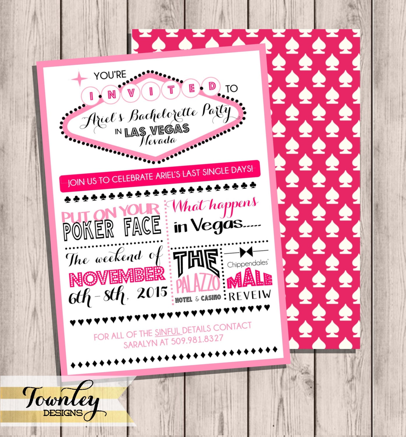 Custom Vegas Bachelorette Party Itinerary Double-Sided 5x7