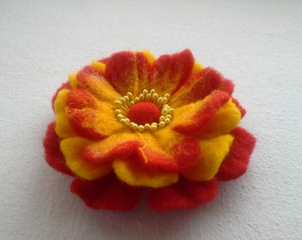 Felt Brooch Flower, Wool Jewelry, Red Yellow Flower, Felt Flower Pin, Wool Brooch, Gift for her, Handmade
