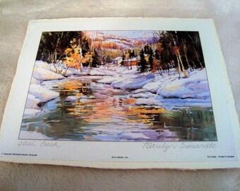 "Nice Marilyn Simandle (1946) ""Still Creek"" Watercolor Print 8.25"" x 6.25"""