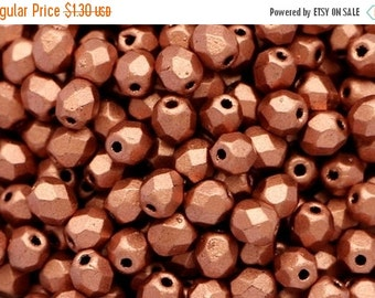 SALE -10% 50 pcs Matte Metallic Copper 4mm Czech Fire Polished Glass Beads Frosted Copper Polish Faceted Round