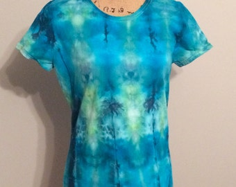 Ice dyed blue green woman's t-shirt