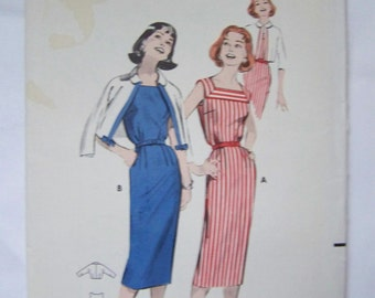 Vintage 1950s Butterick 8531 Misses' Bloused SHEATH & Cardigan JACKET Pattern sz 14 UNCUT