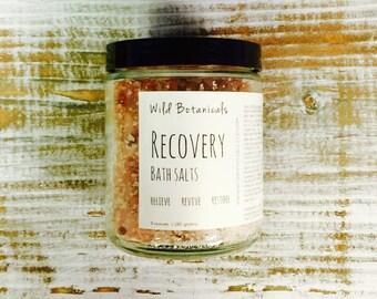 Recovery Bath Salts, All Natural Aromatherapy, 9 oz Jar, Pink Himalayan, Dead Sea Salt, Essential Oils, Detox