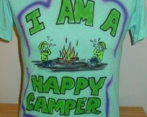 Vintage 1980s air brush t shirt Medium 50/50 Camping