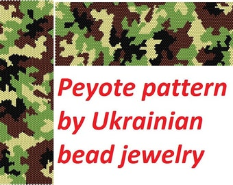 Camouflage peyote pattern PDF green bracelet army jewelry tutorial beading military delica cuff bracelet do it yourself graphic design chart