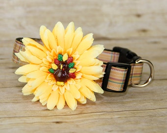 Thanksgiving, Dog Collar Flower, Gerbera Daisy with Turkey, Dog Collar Accessory, (Collar not included), Yellow, Focus for a Cause